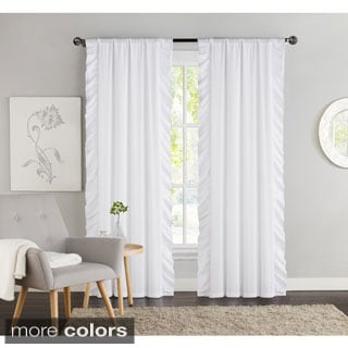 VCNY Amber 40 Inch X 84 Inch Side Ruffle Blackout Curtain Panel Pair