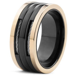 Men's Blackplated and Rose Goldplated Stainless Steel Cable Inlay Band Ring (10 mm)