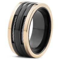 Men's Two Tone Stainless Steel Cable Inlay Ring (10 mm) - Black