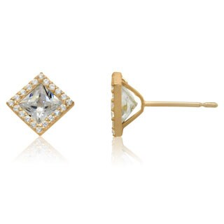 10k Yellow Gold Cubic Zirconia Halo Earrings