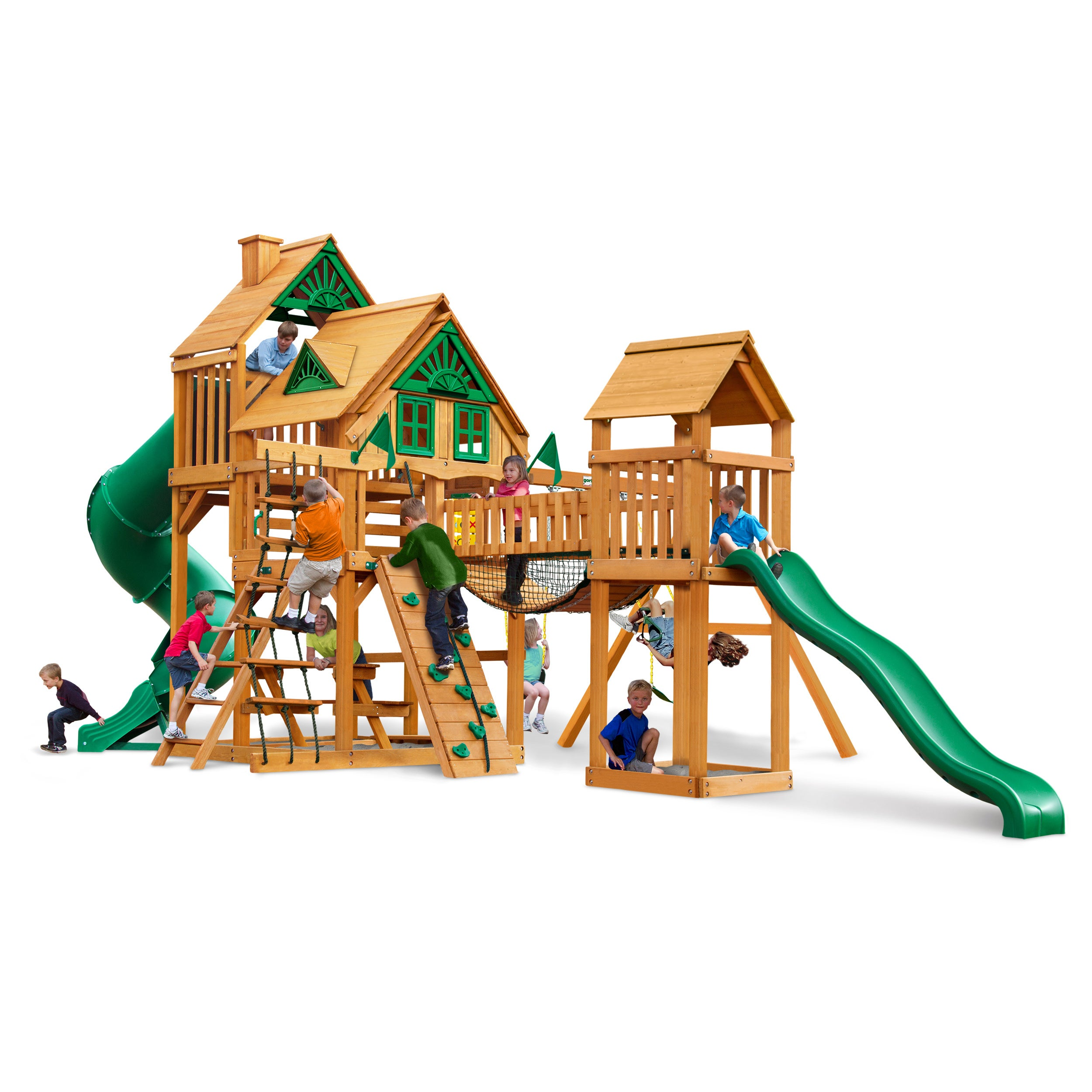 Gorilla Playsets Treasure Trove Treehouse Swing Set with Amber Posts