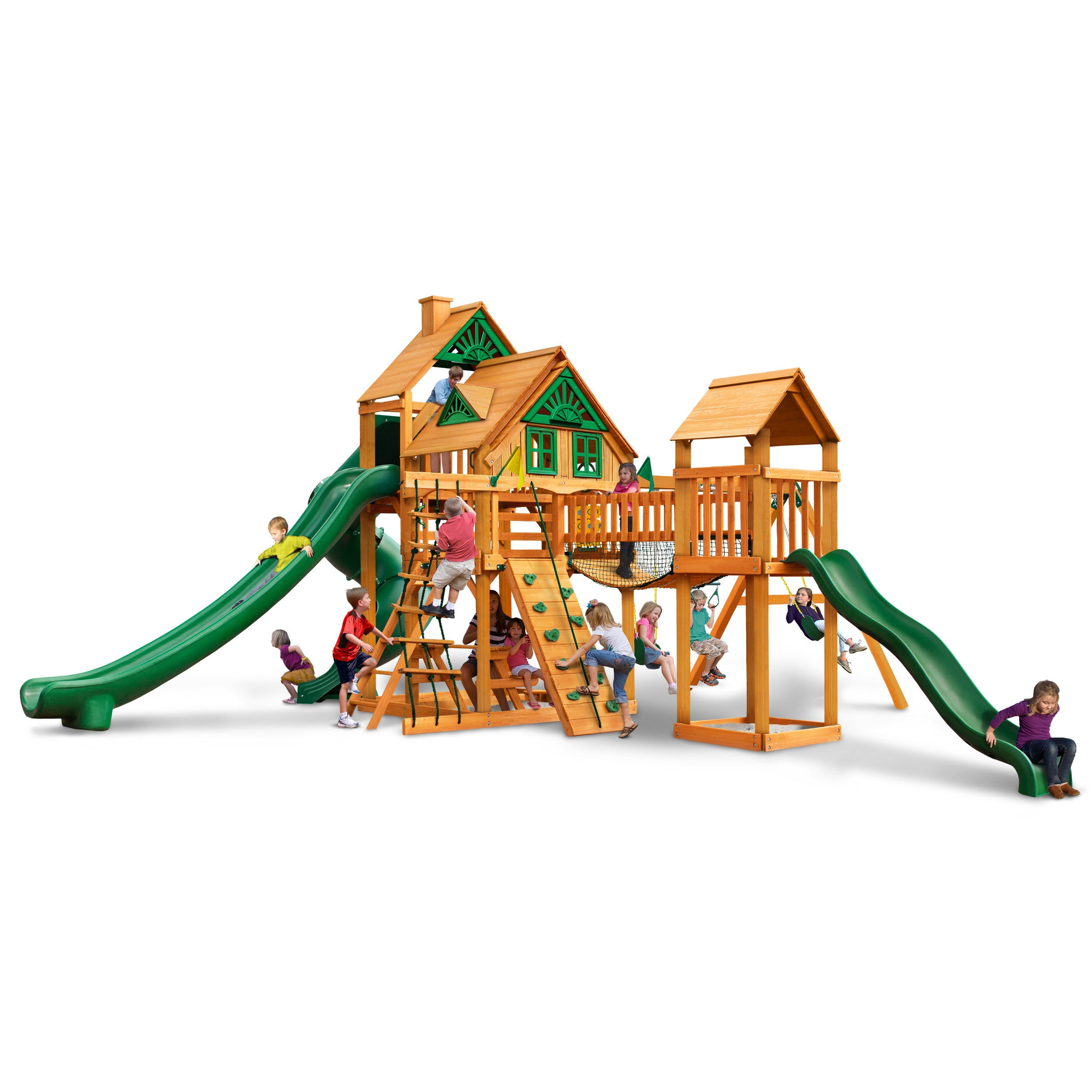 Gorilla Playsets Treasure Trove II Treehouse Swing Set with Amber Posts