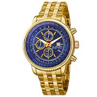 August Steiner Men's Swiss Quartz Multifunction Dual Time Stainless Steel Gold-Tone Bracelet Watch