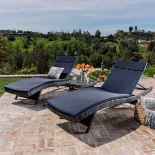 Luana Outdoor 3 Piece Wicker Adjustable Chaise Lounge Set With Cushions By  Christopher Knight Home