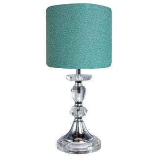Crystal and Metal 15-inch Table Lamp with Chrome Accents