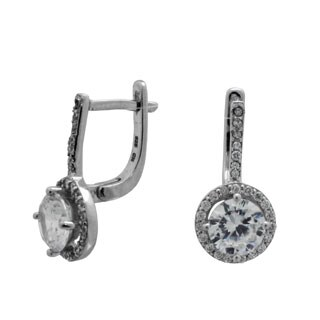 Sterling Silver 7mm Round-cut Cubic Zirconia Latch Back Earrings