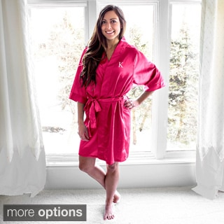 Personalized Fuchsia Satin Robe