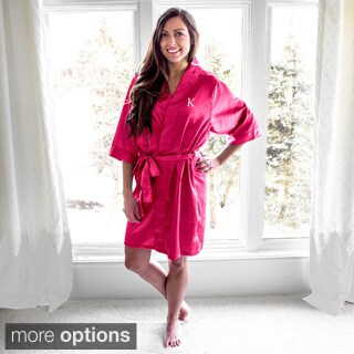 Personalized Fuchsia Satin Robe (More options available)