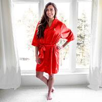 Personalized Red Satin Robe