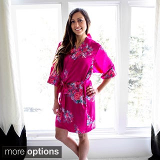 Personalized Fuchsia Floral Satin Robe