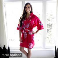 Personalized Red Floral Satin Robe
