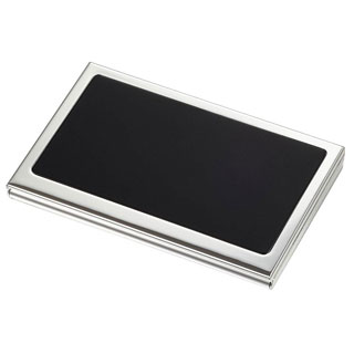 Evette Silverplated Business Card Case with Built-in Mirror