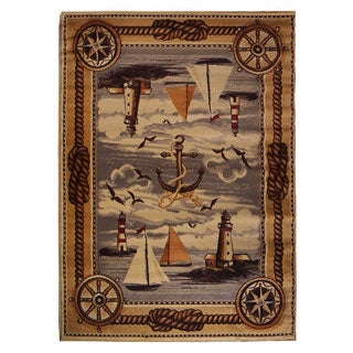 Nautical Design Beige Area Rug (5'x7')