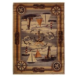 Nautical Design Beige Area Rug (5'x7')