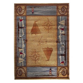 Compass Design Camel Area Rug (5'x7')
