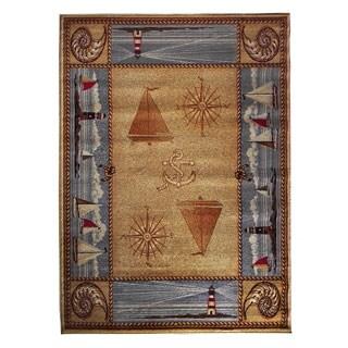 Compass Design Camel Area Rug (5'x7')