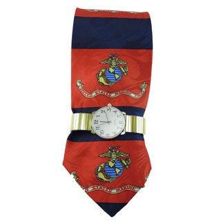 Men's Gold Stretch Band Watch with Steven Harris United States Marine Corp. Globe and Anchor Necktie and Watch Set
