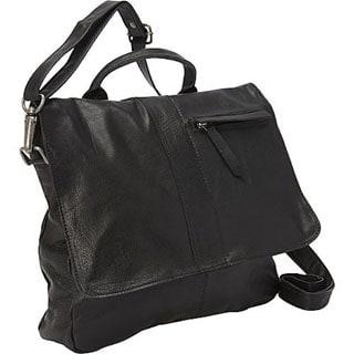 Sharo Black Soft Leather Crossbody Handbag