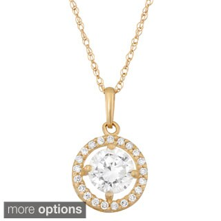 10k Gold Round-cut Cubic Zirconia Pendant Necklace