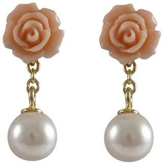 Luxiro Goldtone Sterling Silver Shell Pearl Rose Dangle Earrings