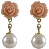 Luxiro Goldtone Sterling Silver Shell Pearl Rose Dangle Earrings