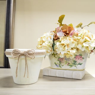 Cream-colored Clay Pot with Twine Ribbon Bow