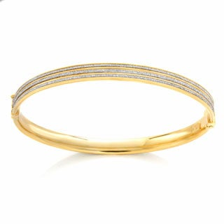 Sterling Essentials Italian Rhodium Plated Silver Glitter Bangle Bracelet