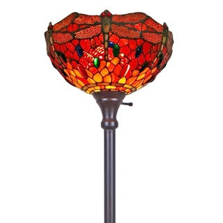 Amora Lighting Tiffany Style Dragonfly Torchiere Floor Lamp