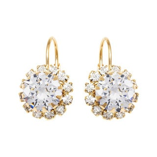 18k Goldplated Crystal Flower Leverback Earrings