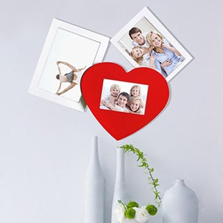 Adeco Decorative White/Red Wood Wall Hanging Collage Picture Photo Frame with 3 Openings