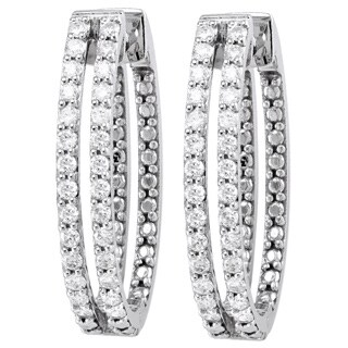 Beverly Hills Charm 10K White Gold 2/3ct. TDW Diamond 2-row Oval Hoop Earrings (H-I, I2-I3)