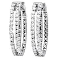 10k White Gold 2/3ct. TDW Diamond 2-row Oval Hoop Earrings