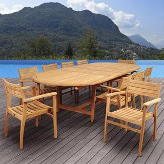Beautiful Amazonia Teak Chiesa 11 Piece Teak Double Extendable Oval Patio Dining Set