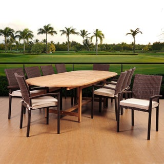 Amazonia Teak Ravello 11-piece Teak/ Wicker Double Extendable Oval Patio Dining Set with Sunbrella Antique Beige Cushions