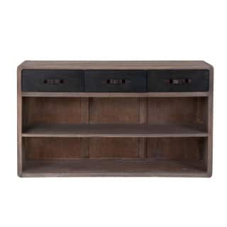 east at mains decorative foster rustic brown rectangle console table - Teak Bookshelves