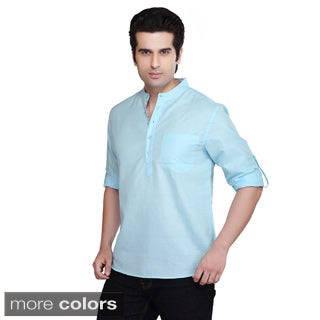 Handmade Shatranj Men's Banded Collar Kurta Tunic Solid Color Shirt (India)