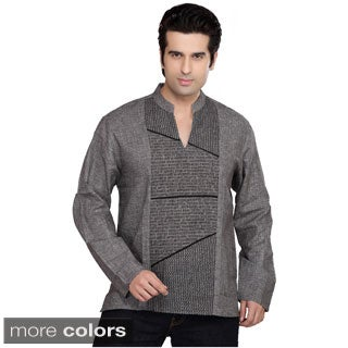 Handmade Shatranj Men's Kurta Tunic Banded Collar Decorative Front Shirt (India)