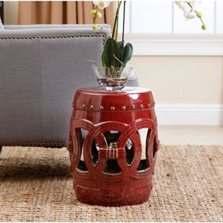 Abbyson Moroccan Antique Red Ceramic Garden Stool