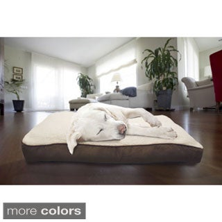 Furhaven Sherpa and Suede Deluxe Pillow Pet Bed