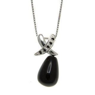 Black Onyx and Spinel Hugs and Kisses Pendant Necklace Jewelry for Womens