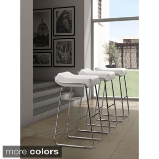 Wedge Contemporary Chrome and Faux Leather Backless Barstool