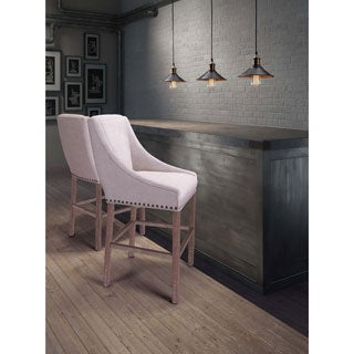 Indio Oak and Beige Linen-Like Fabric Counter Chair