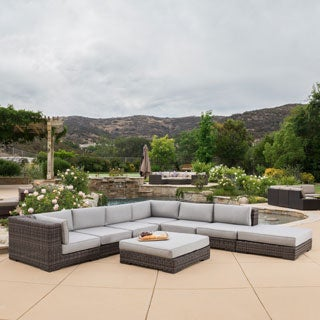 Glenoaks 8-piece Outdoor Wicker Sectional with Sunbrella Cushions by Christopher Knight Home