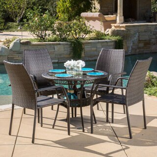 Lisbon Outdoor 5-piece Wicker Dining Set by Christopher Knight Home