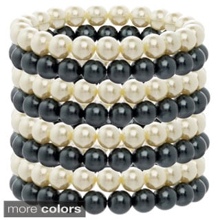 Alexa Starr Ivory and Black Glass Pearl Stretch Bracelet Set