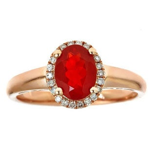 Anika and August 10k Rose Gold Oval-cut Fire Opal and Diamond Ring