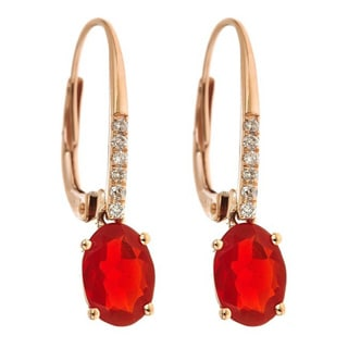 Anika and August 14k Rose Gold Fire Opal and Diamond Accent Earrings