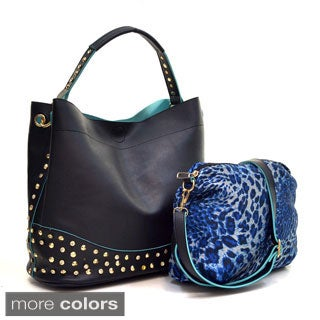 Dasein Faux Leather Studded 2-in-1 Hobo Bag