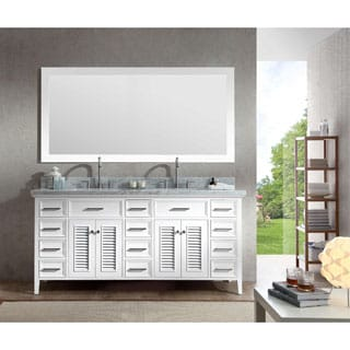 ARIEL Kensington 73-inch Double Sink White Vanity Set