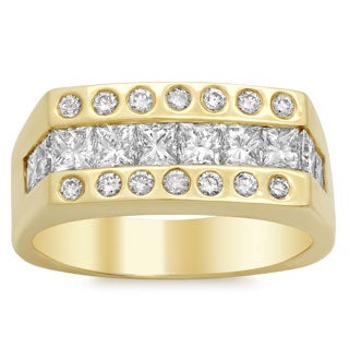 14k Gold Men's 2 5/8 ct TDW Diamond Ring (E-F, SI1-SI2)